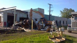 Demolition of the Eighmy building by local contractor Hugh Ingram owner of Northcoast Construction.